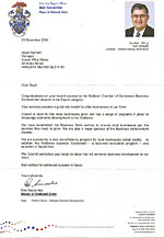 Congratulation letter from  Don Seccombe – Mayor Redland Shire Council